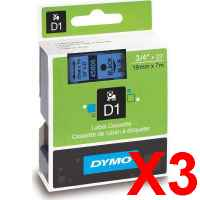 3 x Genuine Dymo D1 Label Tape 19mm Black on Blue 45806 - 7 metres