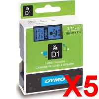 5 x Genuine Dymo D1 Label Tape 19mm Black on Blue 45806 - 7 metres