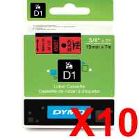 10 x Genuine Dymo D1 Label Tape 19mm Black on Red 45807 - 7 metres