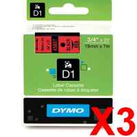 3 x Genuine Dymo D1 Label Tape 19mm Black on Red 45807 - 7 metres
