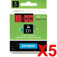 5 x Genuine Dymo D1 Label Tape 19mm Black on Red 45807 - 7 metres
