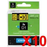 10 x Genuine Dymo D1 Label Tape 19mm Black on Yellow 45808 - 7 metres