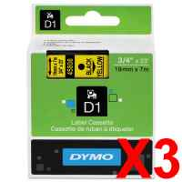 3 x Genuine Dymo D1 Label Tape 19mm Black on Yellow 45808 - 7 metres