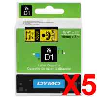 5 x Genuine Dymo D1 Label Tape 19mm Black on Yellow 45808 - 7 metres