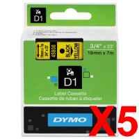 5 x Genuine Dymo D1 Label Tape 19mm Black on Yellow 45808 - 7 metres