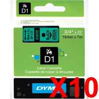 10 x Genuine Dymo D1 Label Tape 19mm Black on Green 45809 - 7 metres