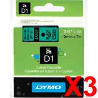 3 x Genuine Dymo D1 Label Tape 19mm Black on Green 45809 - 7 metres