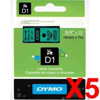 5 x Genuine Dymo D1 Label Tape 19mm Black on Green 45809 - 7 metres