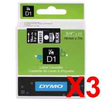 3 x Genuine Dymo D1 Label Tape 19mm White on Black 45811 - 7 metres