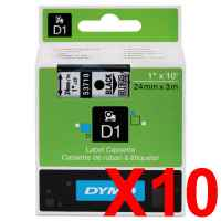 10 x Genuine Dymo D1 Label Tape 24mm Black on Clear 53710 - 7 metres