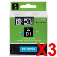 3 x Genuine Dymo D1 Label Tape 24mm Black on Clear 53710 - 7 metres