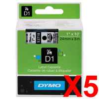 5 x Genuine Dymo D1 Label Tape 24mm Black on Clear 53710 - 7 metres