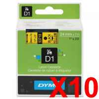 10 x Genuine Dymo D1 Label Tape 24mm Black on Yellow 53718 - 7 metres