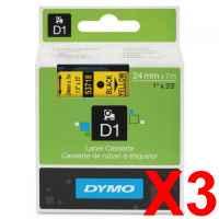 3 x Genuine Dymo D1 Label Tape 24mm Black on Yellow 53718 - 7 metres