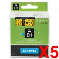 5 x Genuine Dymo D1 Label Tape 24mm Black on Yellow 53718 - 7 metres