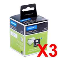 3 x Genuine Dymo LW Address Labels 28mm x 89mm - 260 Labels SD99010