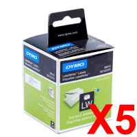 5 x Genuine Dymo LW Address Labels 28mm x 89mm - 260 Labels SD99010
