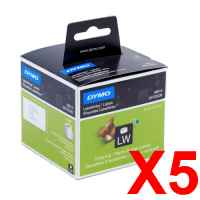 5 x Genuine Dymo LW Shipping Labels 54mm x 101mm - 220 Labels SD99014
