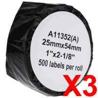 3 x Compatible Dymo LW Address Labels 25mm x 54mm - 500 Labels SD11352
