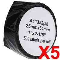 5 x Compatible Dymo LW Address Labels 25mm x 54mm - 500 Labels SD11352