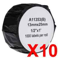 10 x Compatible Dymo LW Multi Purpose Labels 13mm x 25mm - 1000 Labels SD11353