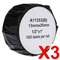 3 x Compatible Dymo LW Multi Purpose Labels 13mm x 25mm - 1000 Labels SD11353