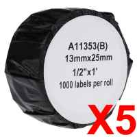 5 x Compatible Dymo LW Multi Purpose Labels 13mm x 25mm - 1000 Labels SD11353