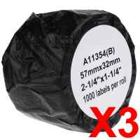 3 x Compatible Dymo LW Multi Purpose Labels 57mm x 32mm - 1000 Labels SD11354