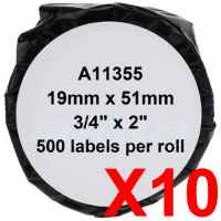 10 x Compatible Dymo LW Multi Purpose Labels 19mm x 51mm - 500 Labels SD11355