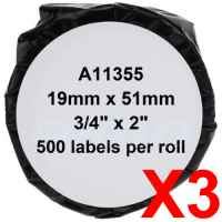 3 x Compatible Dymo LW Multi Purpose Labels 19mm x 51mm - 500 Labels SD11355