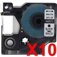 10 x Compatible Dymo D1 Label Tape 9mm Black on White 40913 - 7 metres