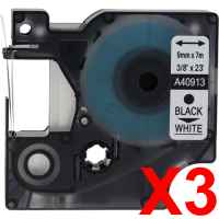 3 x Compatible Dymo D1 Label Tape 9mm Black on White 40913 - 7 metres