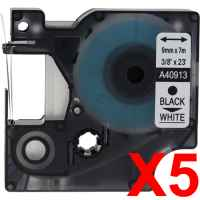 5 x Compatible Dymo D1 Label Tape 9mm Black on White 40913 - 7 metres
