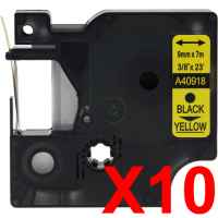 10 x Compatible Dymo D1 Label Tape 9mm Black on Yellow 40918 - 7 metres