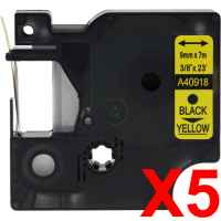 5 x Compatible Dymo D1 Label Tape 9mm Black on Yellow 40918 - 7 metres