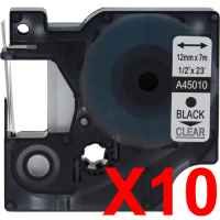 10 x Compatible Dymo D1 Label Tape 12mm Black on Clear 45010 - 7 metres