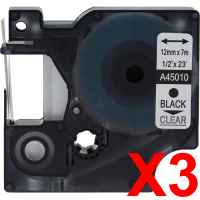 3 x Compatible Dymo D1 Label Tape 12mm Black on Clear 45010 - 7 metres