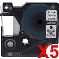 5 x Compatible Dymo D1 Label Tape 12mm Black on Clear 45010 - 7 metres