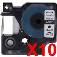 10 x Compatible Dymo D1 Label Tape 12mm Black on White 45013 - 7 metres
