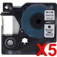 5 x Compatible Dymo D1 Label Tape 12mm Black on White 45013 - 7 metres