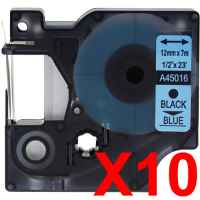 10 x Compatible Dymo D1 Label Tape 12mm Black on Blue 45016 - 7 metres