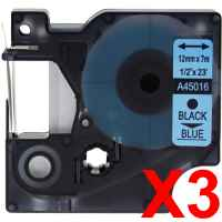 3 x Compatible Dymo D1 Label Tape 12mm Black on Blue 45016 - 7 metres