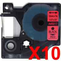 10 x Compatible Dymo D1 Label Tape 12mm Black on Red 45017 - 7 metres