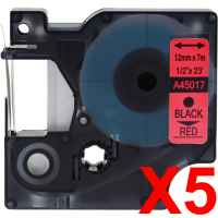 5 x Compatible Dymo D1 Label Tape 12mm Black on Red 45017 - 7 metres