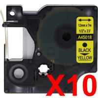 10 x Compatible Dymo D1 Label Tape 12mm Black on Yellow 45018 - 7 metres