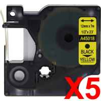 5 x Compatible Dymo D1 Label Tape 12mm Black on Yellow 45018 - 7 metres