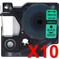 10 x Compatible Dymo D1 Label Tape 12mm Black on Green 45019 - 7 metres