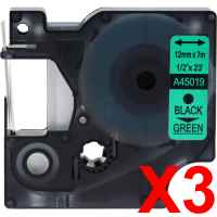3 x Compatible Dymo D1 Label Tape 12mm Black on Green 45019 - 7 metres