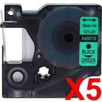 5 x Compatible Dymo D1 Label Tape 12mm Black on Green 45019 - 7 metres