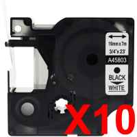 10 x Compatible Dymo D1 Label Tape 19mm Black on White 45803 - 7 metres